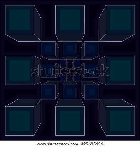 Wallpaper - cubic fractal - dark green  - stock photo