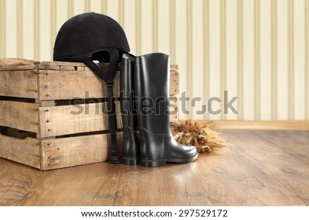 wallpaper floor and box of wood with shoes and hat of black color  - stock photo