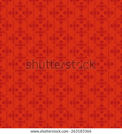 Wallpaper for walls. Red color. Retro texture. Seamless pattern. - stock photo