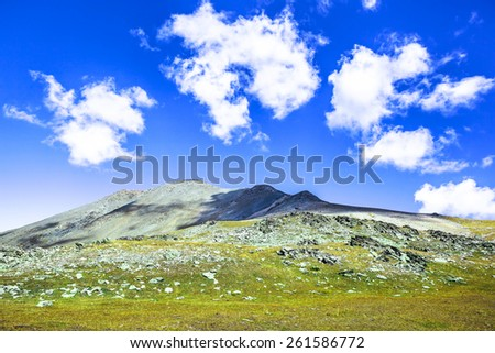 Wallpaper from the mountains. Picture was taken during trekking hike in the beautiful and scenic Caucasus mountains at autumn, Arhiz region, Abishira-Ahuba range,Karachay-Cherkessia, Russia - stock photo