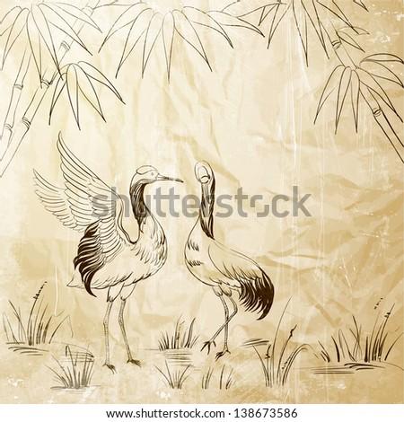 Wallpaper heron and bamboo.  illustration. - stock photo