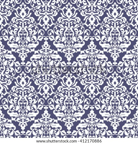 Wallpaper in baroque style. Classic ornament. Damask pattern.Seamless background. - stock photo