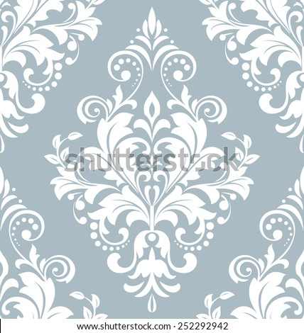 Wallpaper in the style of Baroque. A seamless  background. Damask floral pattern. Floral ornament. - stock photo