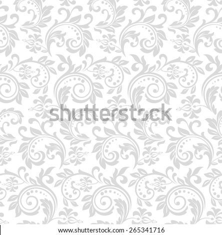 Wallpaper in the style of Baroque. A seamless  background. Gray and white ornament. - stock photo