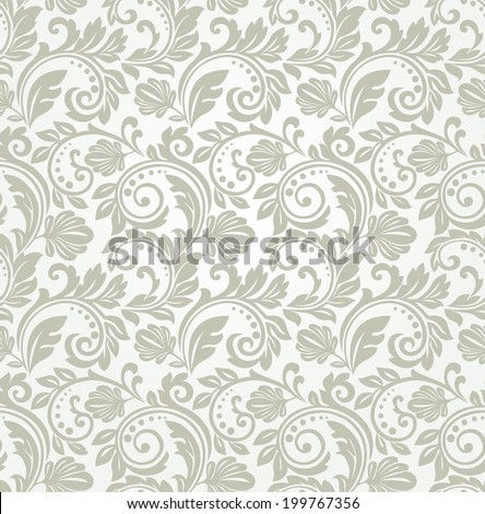 Wallpaper in the style of Baroque. A seamless background. Gray and white texture.