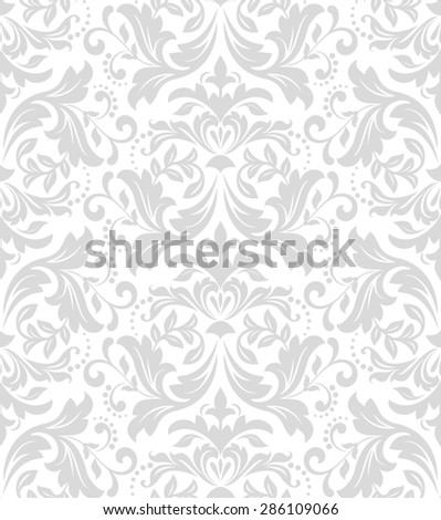 Wallpaper in the style of Baroque. A seamless background. Gray and white texture. Floral ornament. - stock photo