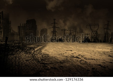 Wallpaper with a doomsday scenario - stock photo