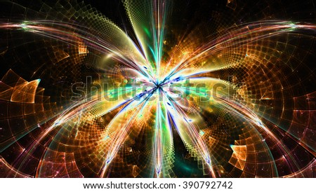 Wallpaper with a large abstract space flower in the center and decorative geometric pattern, all in bright green,yellow,orange