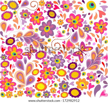 Wallpaper with funny flowers - stock photo