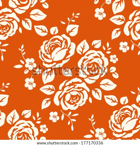 Wallpaper with roses - stock photo