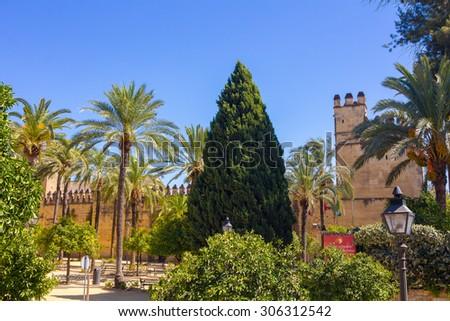 Walls and gardens of the Alcazar de Cordoba, Spain - stock photo