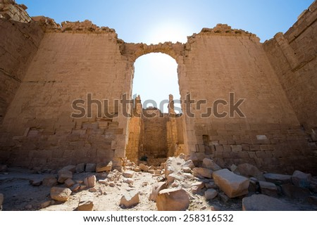 Walls and ruins in the Great Temple in Petra in Jordan - stock photo