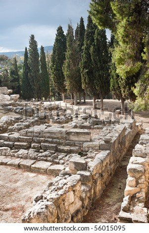 Walls at Knossos Archeological Site in Crete, Greece - stock photo