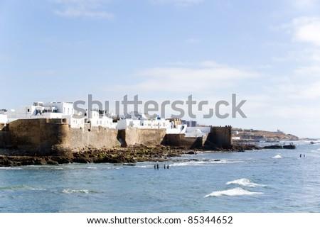 walls of Asilah, Moroccan seaside town - stock photo