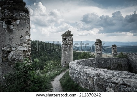 Walls of Spis Castle in Slovakia - stock photo