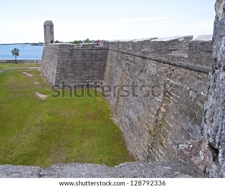 Walls of the Castillo San Marcos Fort in St. Augustine, FL, on an overcast day. - stock photo