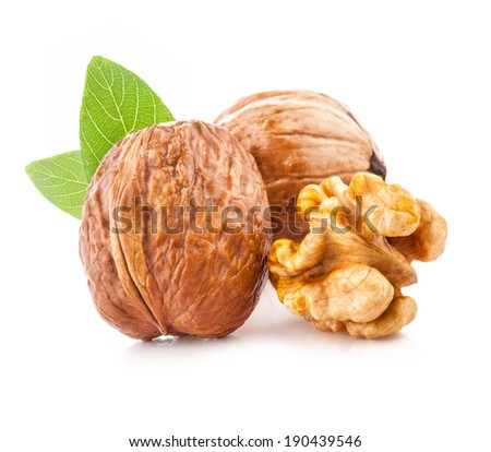 Walnut and kernel isolated on the white background, closeup - stock photo