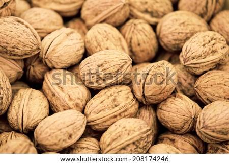 Walnut background texture - stock photo