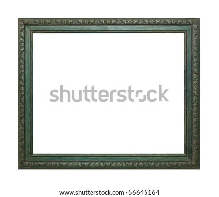 walnut frame isolated on white - stock photo