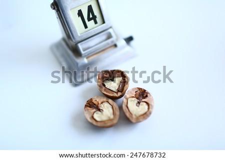 walnut in the form shape of heart - stock photo