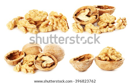 Walnut isolated on a white background, collage - stock photo