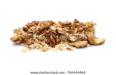 Walnut kernels, pile isolated on white background