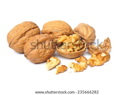 walnut on isolated background - stock photo