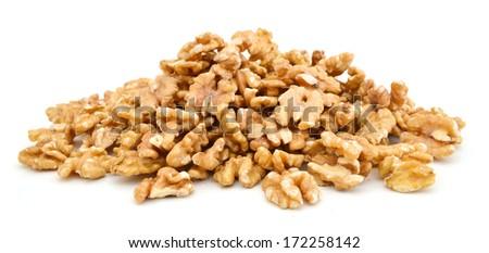 walnut on white  - stock photo