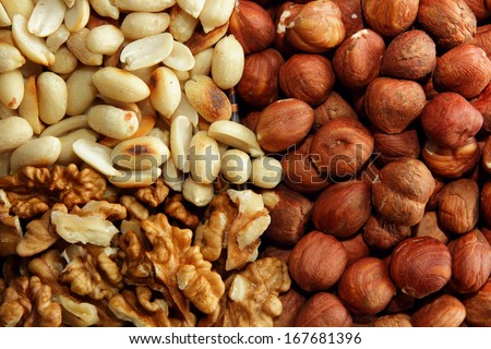 Walnut peanuts and hazelnuts