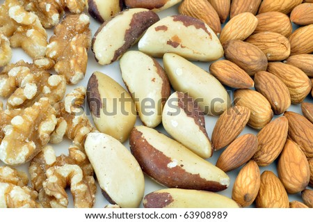 walnuts brazil nuts and almonds spread in sections as a background - stock photo