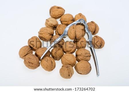 walnuts heap isolated on  white background  - stock photo