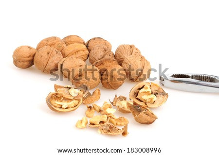 Walnuts in front of a white background - stock photo