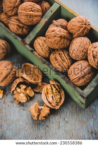 Walnuts in Shell in Wooden Crate