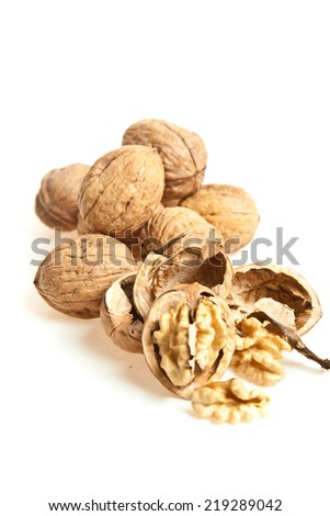 Walnuts isolated in white background - stock photo
