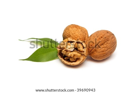 Walnuts isolated on white - stock photo