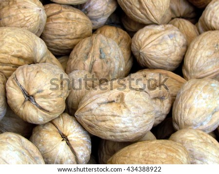 Walnuts on bazaar in Tel Aviv, Israel                                - stock photo