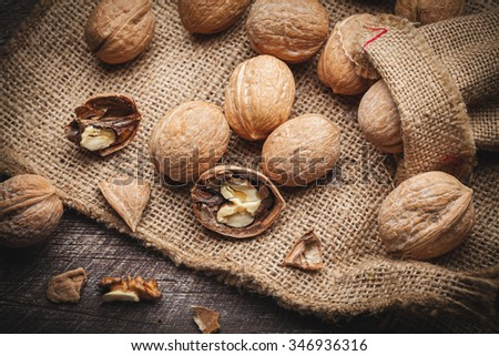 walnuts on jute