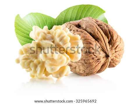 walnuts with leaves isolated on the white background
