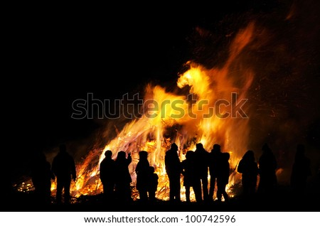 Walpurgis Night bonfire - stock photo