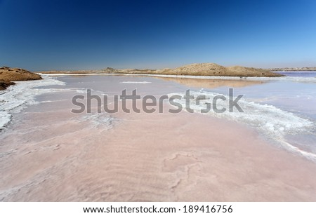 Walvis Bay Salt Works in Namibia, Africa - stock photo