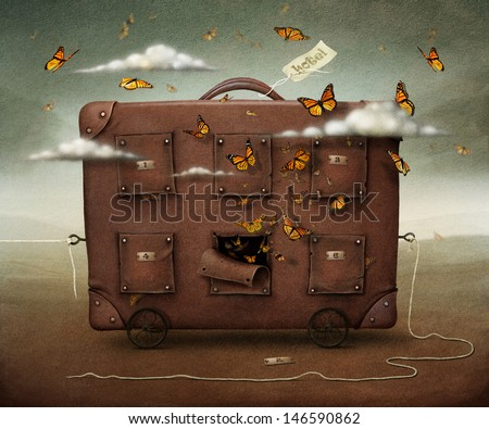 Wandering Suitcase, conceptual illustration or poster.  - stock photo