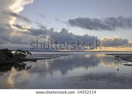 Wanggoolba Bay sunset, Fraser Island Queensland Australia - stock photo