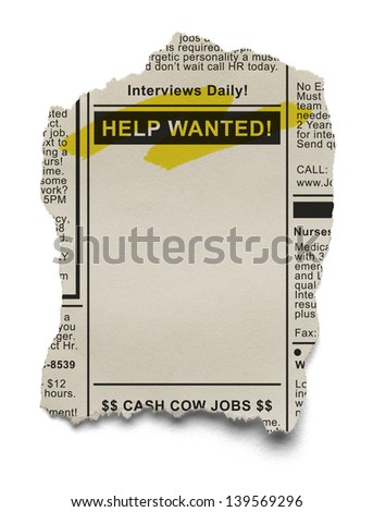 Want Ads for Job Search on Torn News Paper Isolated on White Background. - stock photo