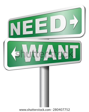 want need back to basic needs or being a big consumer without satisfaction only must have - stock photo