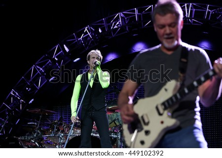 WANTAGH, NY-AUG 14: David Lee Roth (L) and Eddie Van Halen of Van Halen performs onstage at Jones Beach Theater on August 14, 2015 in Wantagh, New York.