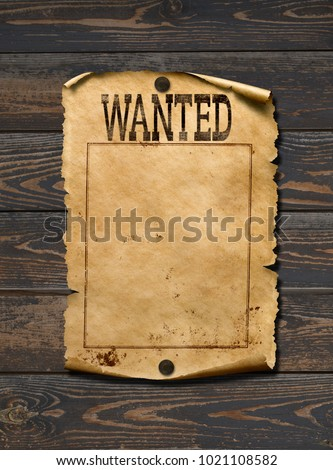 Wanted dead or live blank poster. Wild west background.