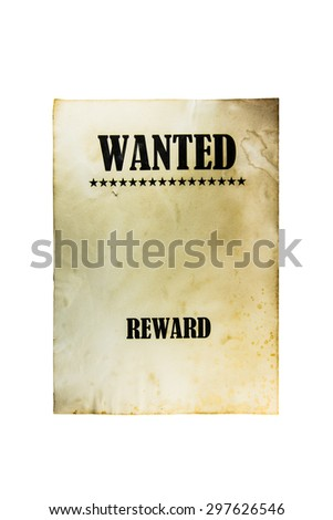 Wanted dead or live paper background. Wild west poster - stock photo