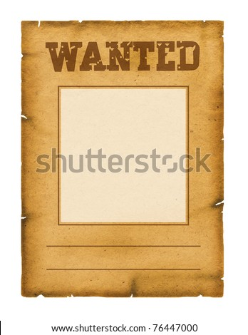 Wanted poster background for design on white - stock photo