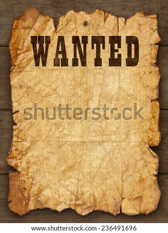 Wanted Poster Tacked on Wood Boards with Copy Space. - stock photo