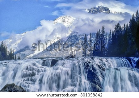 Wapta Falls and mountains in Yoho National Park British Columbia,Canada.Digital oil painting